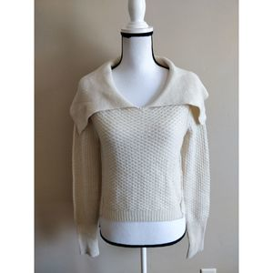 Anthropologie Fitted Crochet Cream Wool Sweater XS